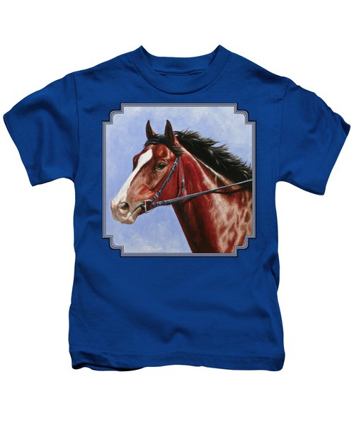 Horse Painting - Determination Kids T-Shirt by Crista Forest