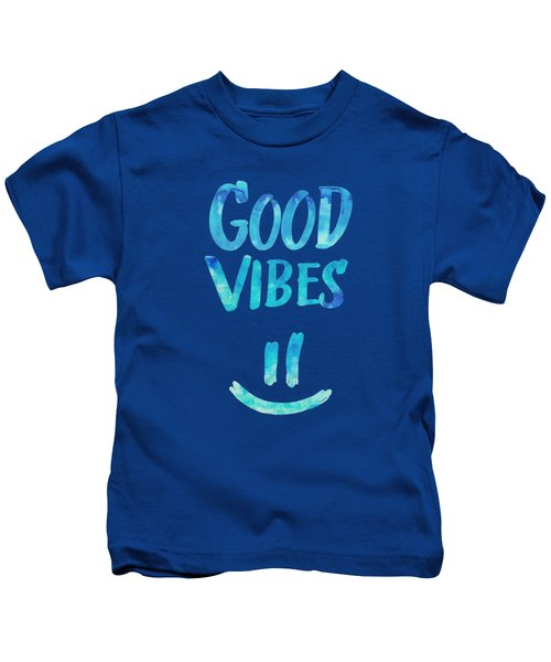 Good Vibes  Funny Smiley Statement Happy Face Blue Stars Edit Kids T-Shirt