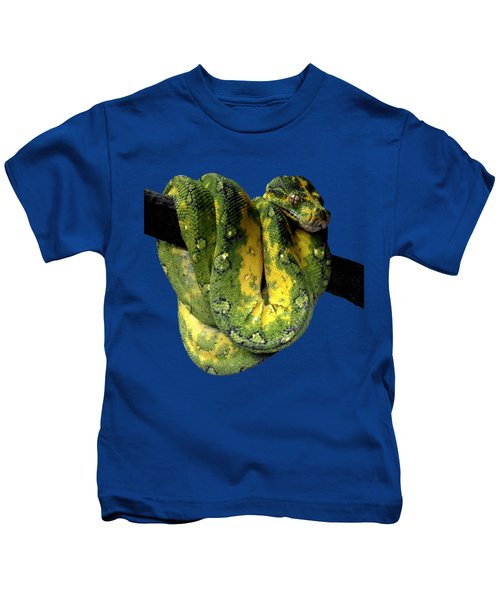 Green Tree Python 2 Kids T-Shirt by Alondra Hanley