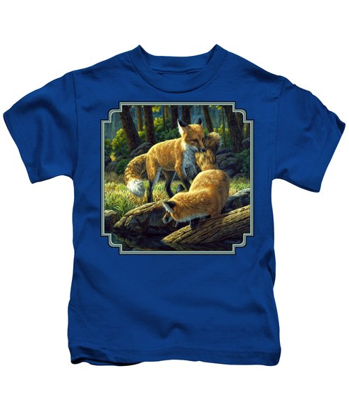 Red Foxes - Sibling Rivalry Kids T-Shirt