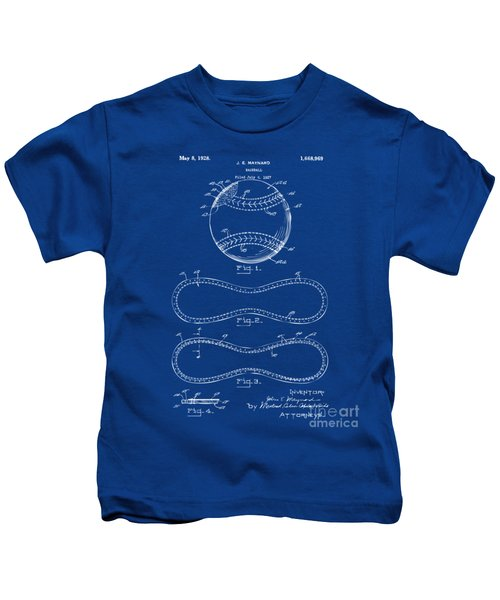 1928 Baseball Patent Artwork - Blueprint Kids T-Shirt