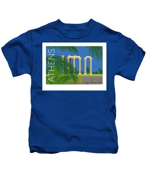 Athens Temple Of Olympian Zeus - Blue Kids T-Shirt