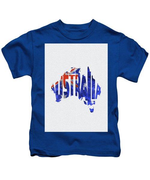 Australia Typographic World Map Kids T-Shirt