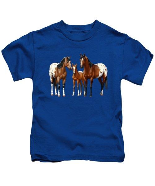 Bay Appaloosa Horses In Winter Pasture Kids T-Shirt