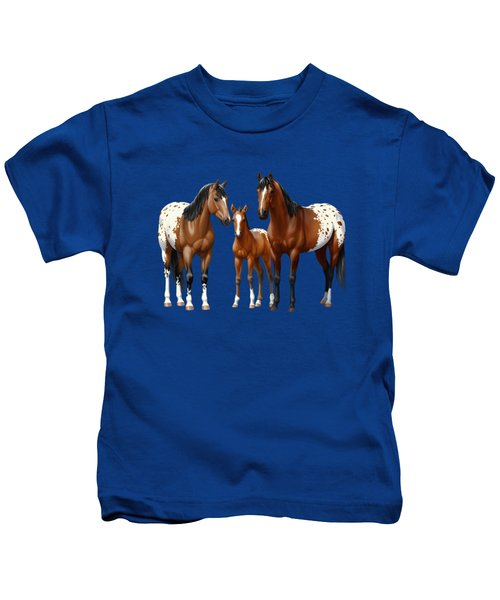 Bay Appaloosa Horses In Winter Pasture Kids T-Shirt