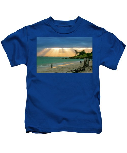 Beach Walk At Sunrise Kids T-Shirt