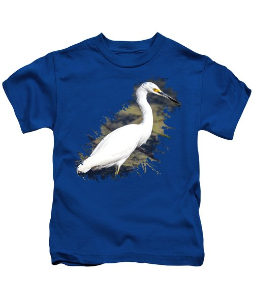 Beautiful Snowy Egret Kids T-Shirt