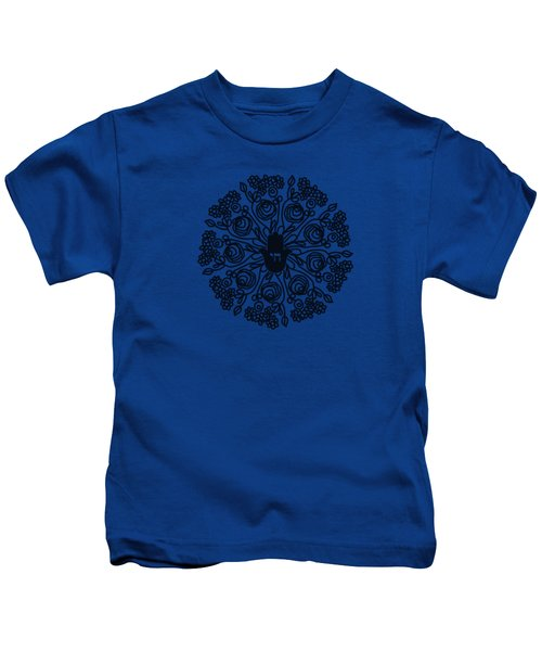 Black And White Hamsa Mandala- Art By Linda Woods Kids T-Shirt
