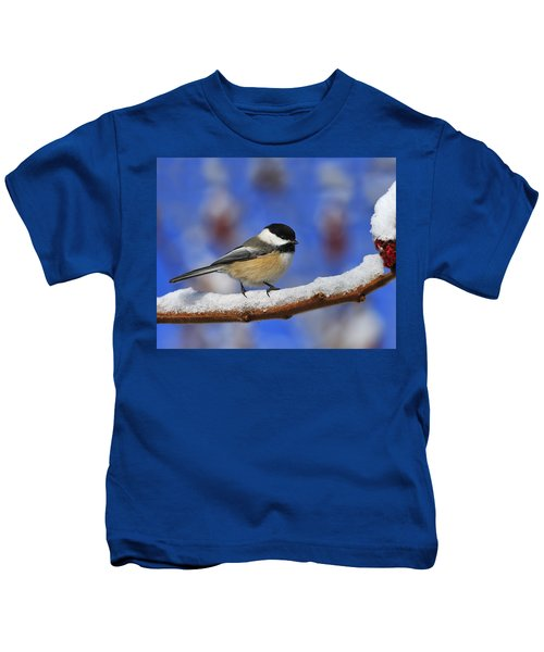 Black-capped Chickadee In Sumac Kids T-Shirt