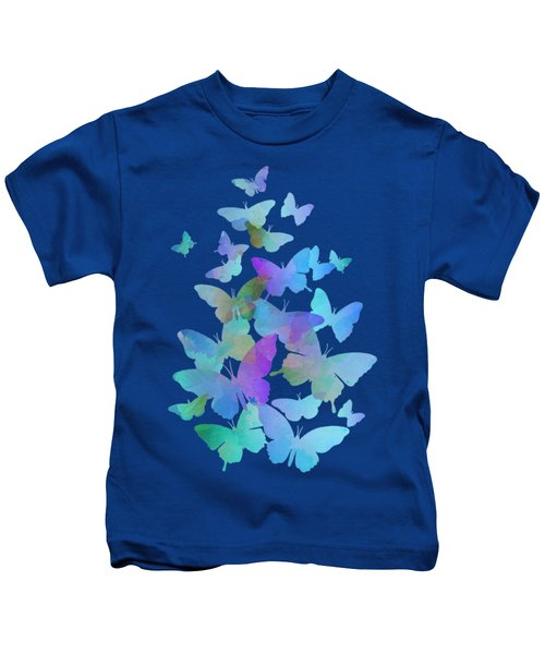 Blue Butterfly Flutter Kids T-Shirt