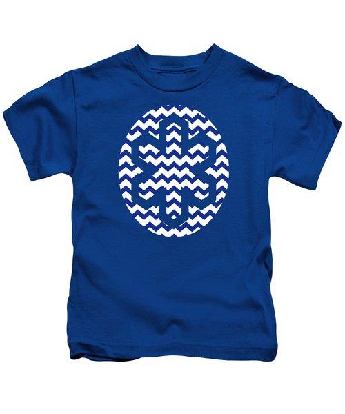 Blue Chevron Pattern Kids T-Shirt