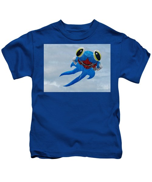 Blue Fish Kite Kids T-Shirt