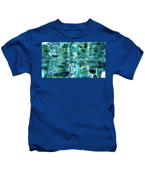 Blue Green Abstract 091015 Kids T-Shirt