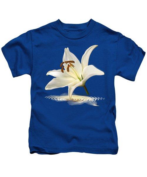 Blue Horizons - White Lily Kids T-Shirt by Gill Billington