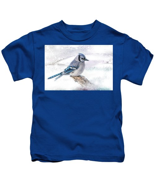 Blue Jay Snow Kids T-Shirt