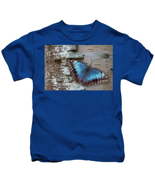 Blue Morpho Butterfly On White Birch Bark Kids T-Shirt