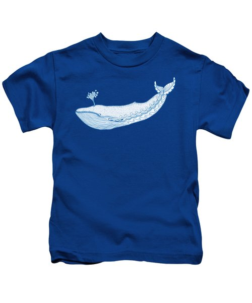 Blue Whale Kids T-Shirt by Eko Octavianus