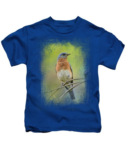 Bluebird On A Spring Day Kids T-Shirt by Jai Johnson