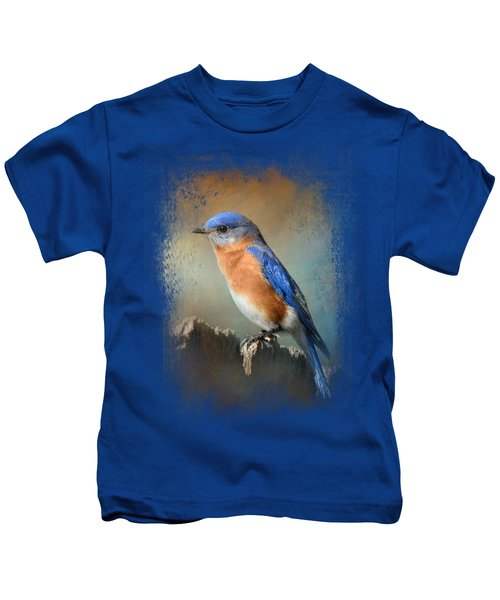 Bluebird On The Fence Kids T-Shirt by Jai Johnson