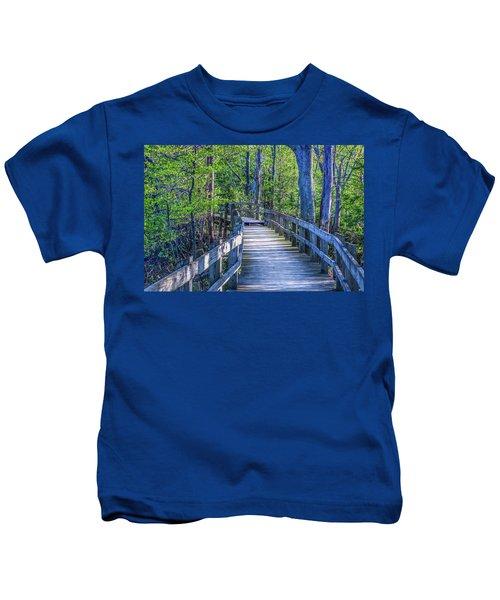 Boardwalk Going Into The Woods Kids T-Shirt