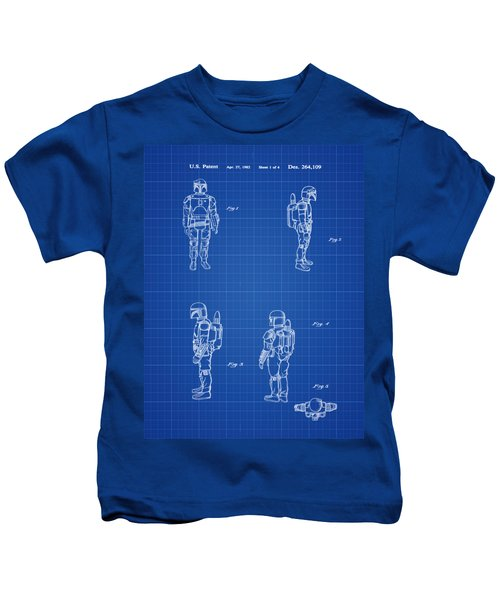 Boba Fett Toy Patent 1982 In Blue Print Kids T-Shirt
