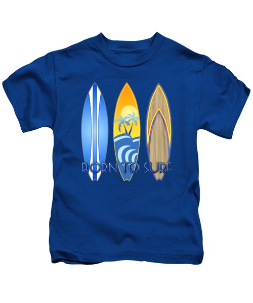 Born To Surf And Tiki Masks Kids T-Shirt by Chris MacDonald