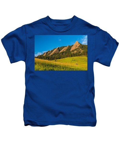 Boulder Colorado Flatirons Sunrise Golden Light Kids T-Shirt