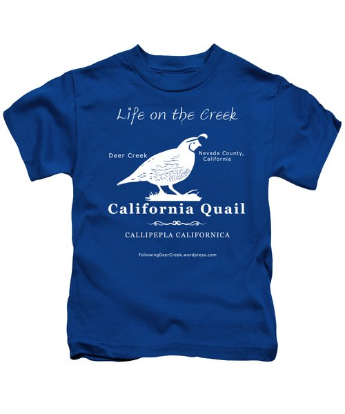 California Quail - White Graphics Kids T-Shirt