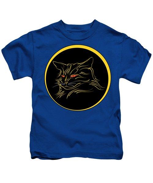Calligraphic Black Cat And Moon Kids T-Shirt