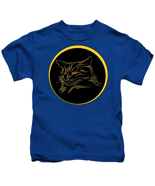 Calligraphic Black Cat And Moon Kids T-Shirt