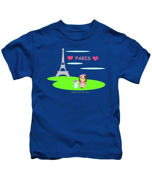 Cathy And The Cat In Paris Kids T-Shirt by Laura Greco