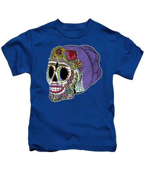 Catrina Sugar Skull Kids T-Shirt by Tammy Wetzel