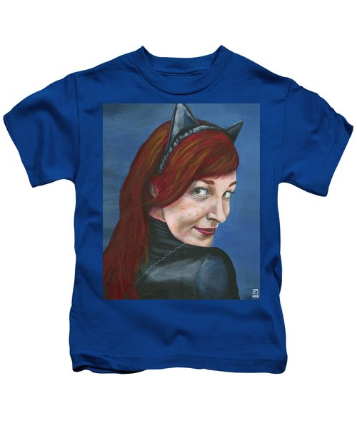 Kids T-Shirt featuring the painting Catwoman by Matthew Mezo