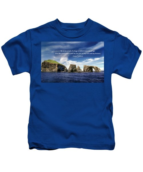 Channel Island National Park - Anacapa Island Arch With Bible Verse Kids T-Shirt