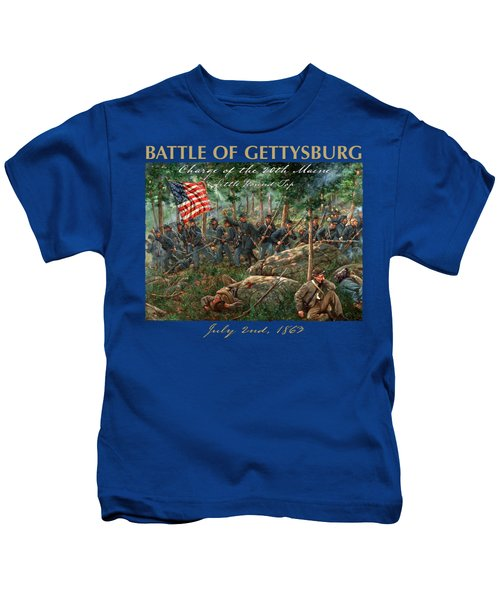 Charge Of The 20th Maine - Joshua L. Chamberlain Leading The 20th Maine Regiment On Little Round Top Kids T-Shirt