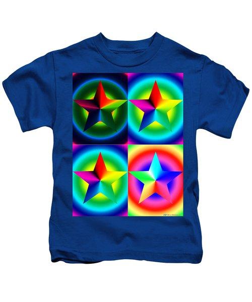 Chromatic Star Quartet With Ring Gradients Kids T-Shirt