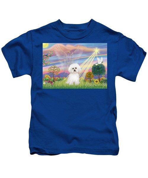 Cloud Angel And Bichon Frise Kids T-Shirt
