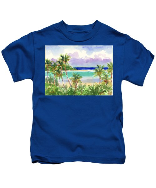 Coconut Palms And Lagoon, Aitutaki Kids T-Shirt