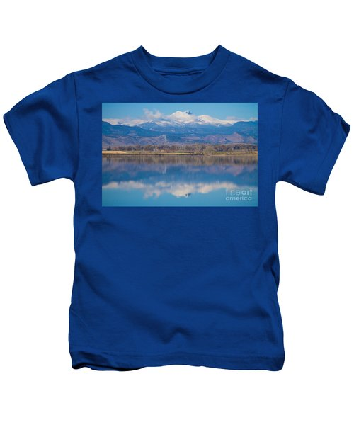 Colorado Longs Peak Circling Clouds Reflection Kids T-Shirt