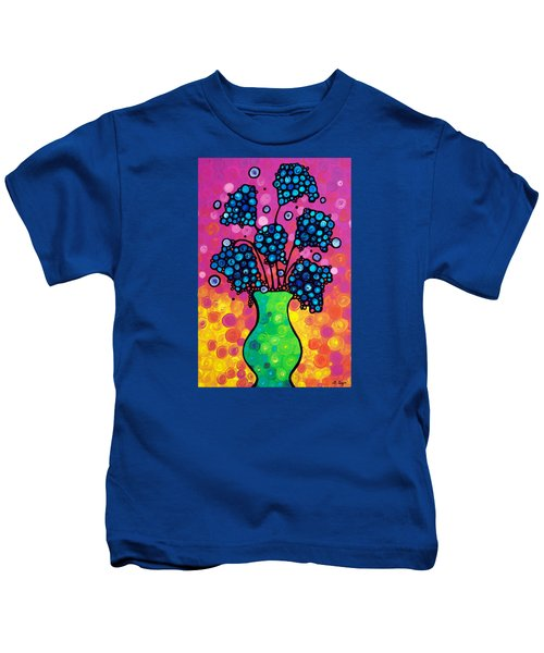 Colorful Flower Bouquet By Sharon Cummings Kids T-Shirt by Sharon Cummings