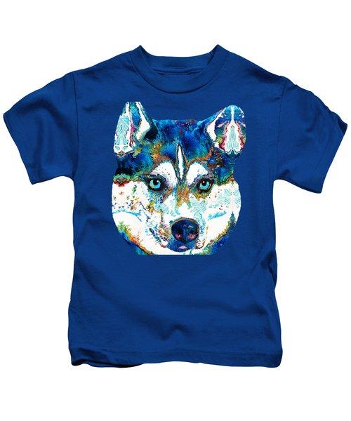 Colorful Husky Dog Art By Sharon Cummings Kids T-Shirt by Sharon Cummings