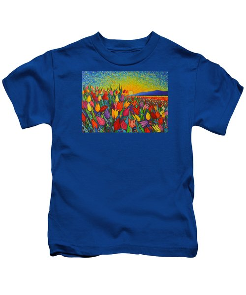 Colorful Tulips Field Sunrise - Abstract Impressionist Palette Knife Painting By Ana Maria Edulescu Kids T-Shirt