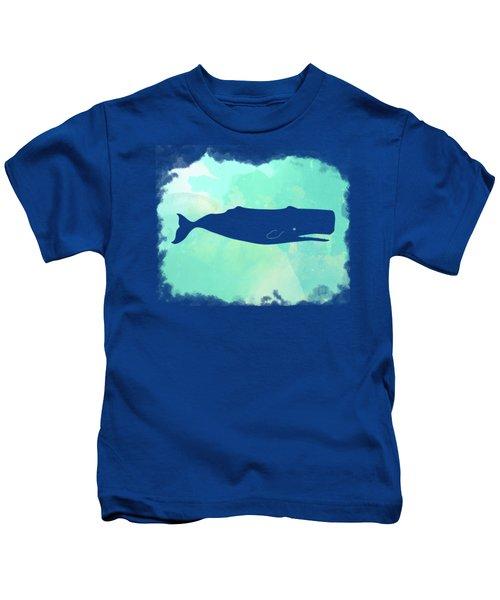 Colorful Watercolor Sperm Whale Sea Life Coastal Art Kids T-Shirt