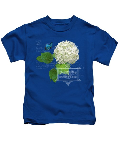 Cottage Garden White Hydrangea With Blue Butterfly Kids T-Shirt by Audrey Jeanne Roberts