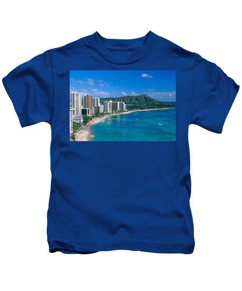 Diamond Head And Waikiki Kids T-Shirt