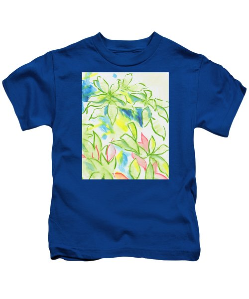 Different Coloured Hydrangea Leaves - Green Red Yellow Kids T-Shirt