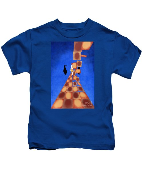 Disrupted Egg Path On Blue Kids T-Shirt