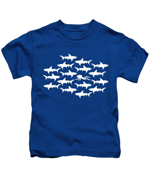 Diver Swimming With Sharks Kids T-Shirt by Antique Images
