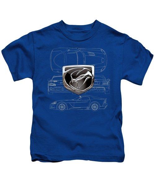 Dodge Viper  3 D  Badge Over Dodge Viper S R T 10 Blueprint  Kids T-Shirt