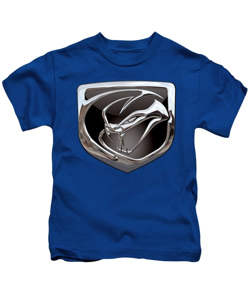 Dodge Viper 3 D  Badge Special Edition On Blue Kids T-Shirt by Serge Averbukh